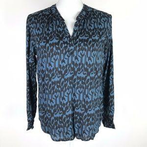 Velvet by Graham & Spencer Top Blue Black Ikat